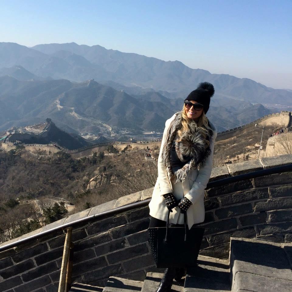Travel Blogger Katy Johnson at the Great Wall of China.