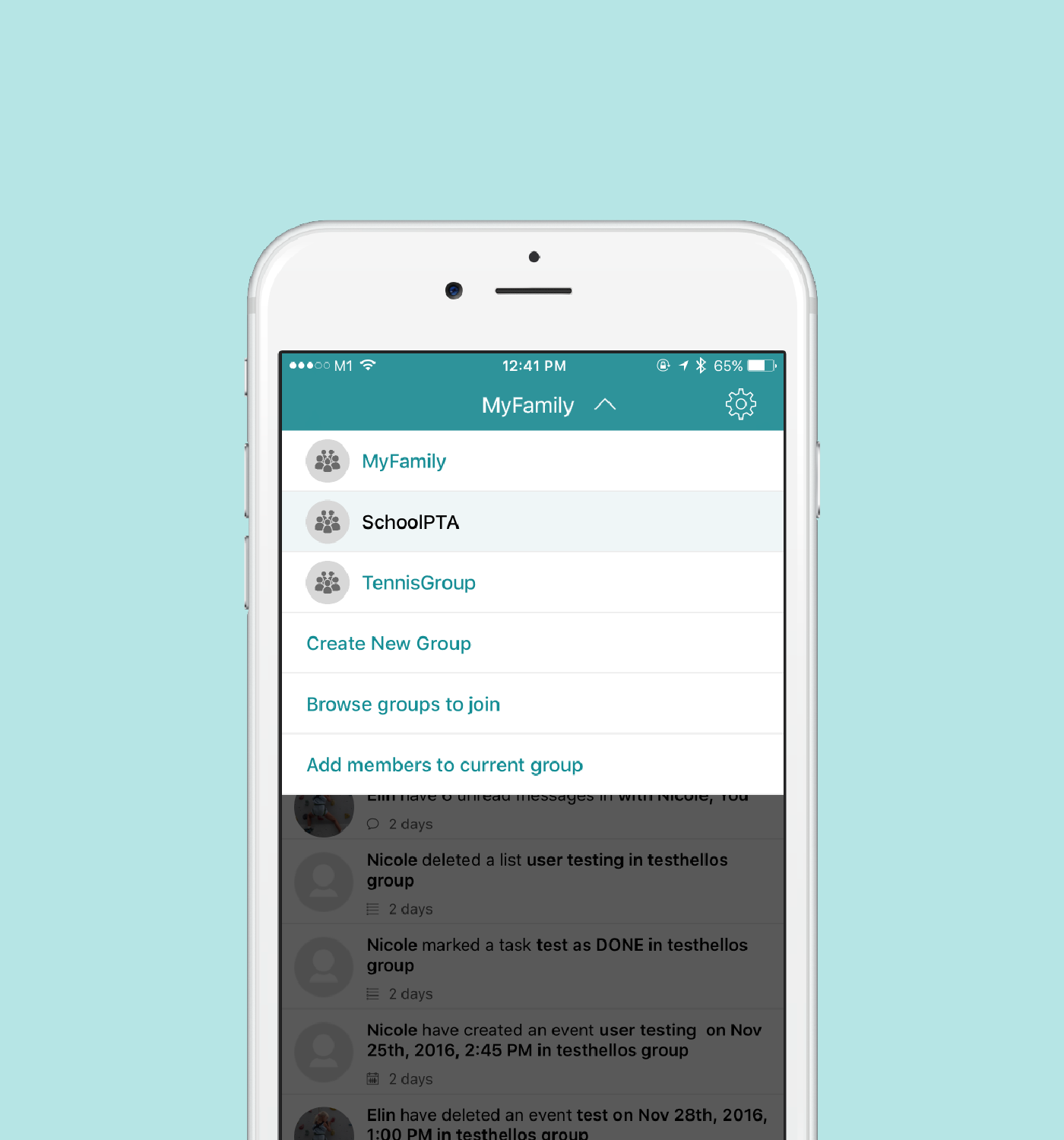 - No other family organizer app makes it this easy to create, update and share all your events, to-dos and plans with different people in your life. Planning your friend's wedding with 3 other bridesmaids? A boys trip to Spain? Carpooling with other parents for the week?Just create a new Group, invite your friends, and make sharing 10x easier.Use Groups to add more sanity to planning...Work Projects, Parties,Sports Teams, School Trips and Events, Your Kids To-Do's, Vacations.