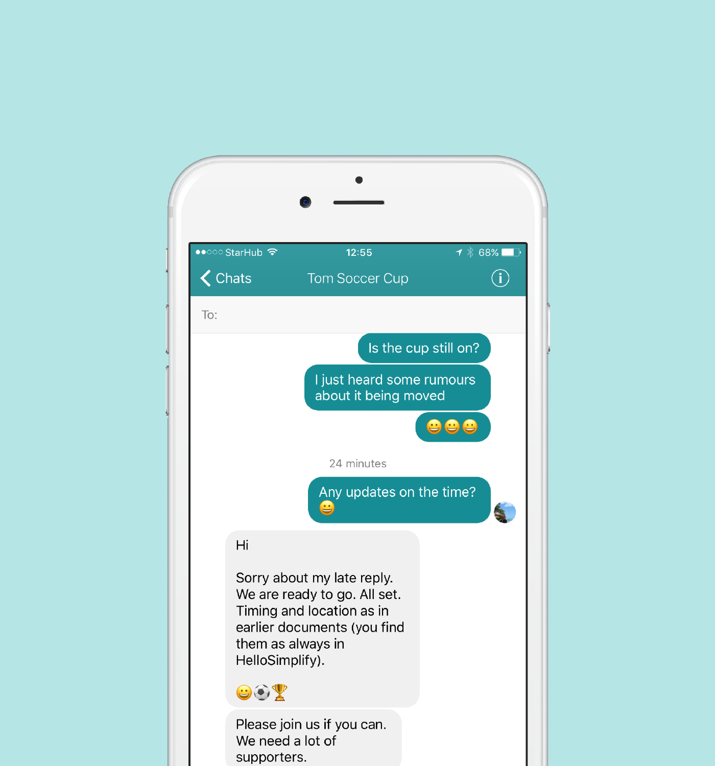 - No more switching between Whatsapp, Messenger, and WeChat to talk to different people. Get help faster. Share happy news. Know what your kids are doing (and where they are). It has everything you need - emojis, photos, videos and location sharing.