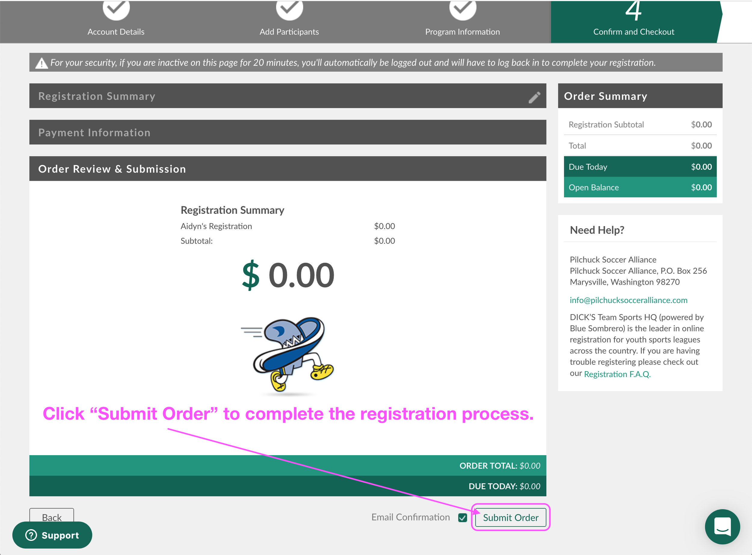 "Click ""Submit Order"" (with the ""Email Confirmation"" box checked) to complete the registration process."