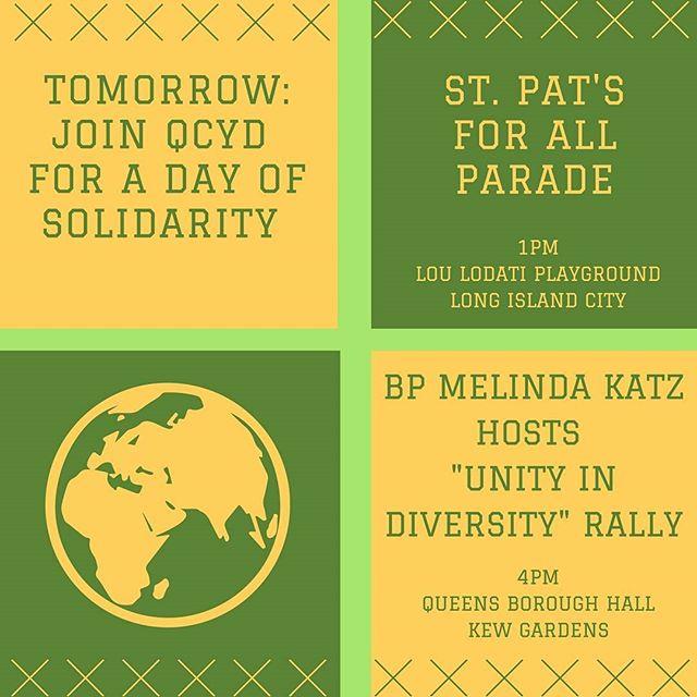 """Busy Sunday for QCYD: please join us at St. Pat's for All followed by """"Unity in Diversity"""" Rally. RSVP on our Facebook page!"""