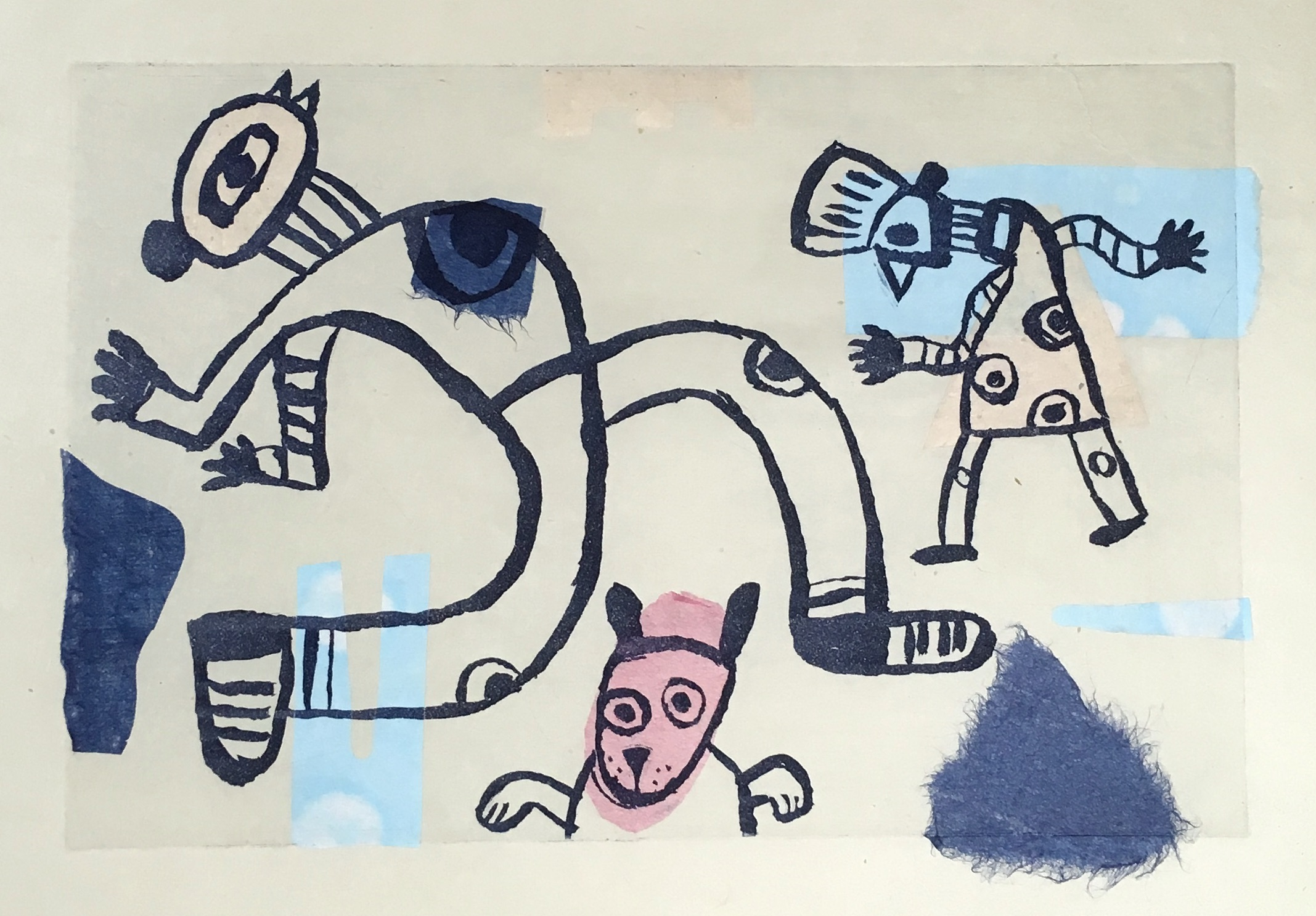 'Dancers' Monoprint with Etching and Chine Collé