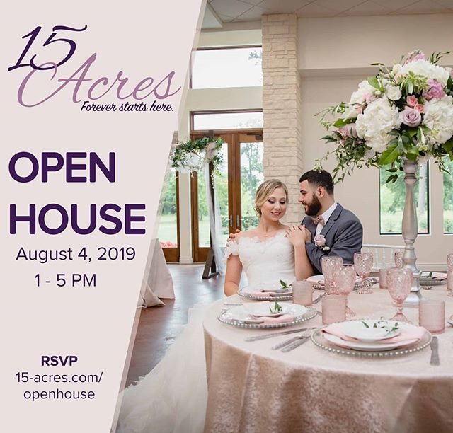 Just one week until the open house @15_acres_venue ! We can't wait to see you there. RSVP today 😃  #pbdjs #openhouse #wedding #weddingvenue #dj #photobooth #houstondjs #houstonphotobooth #eventrentals #weddingplanner #houstonweddings