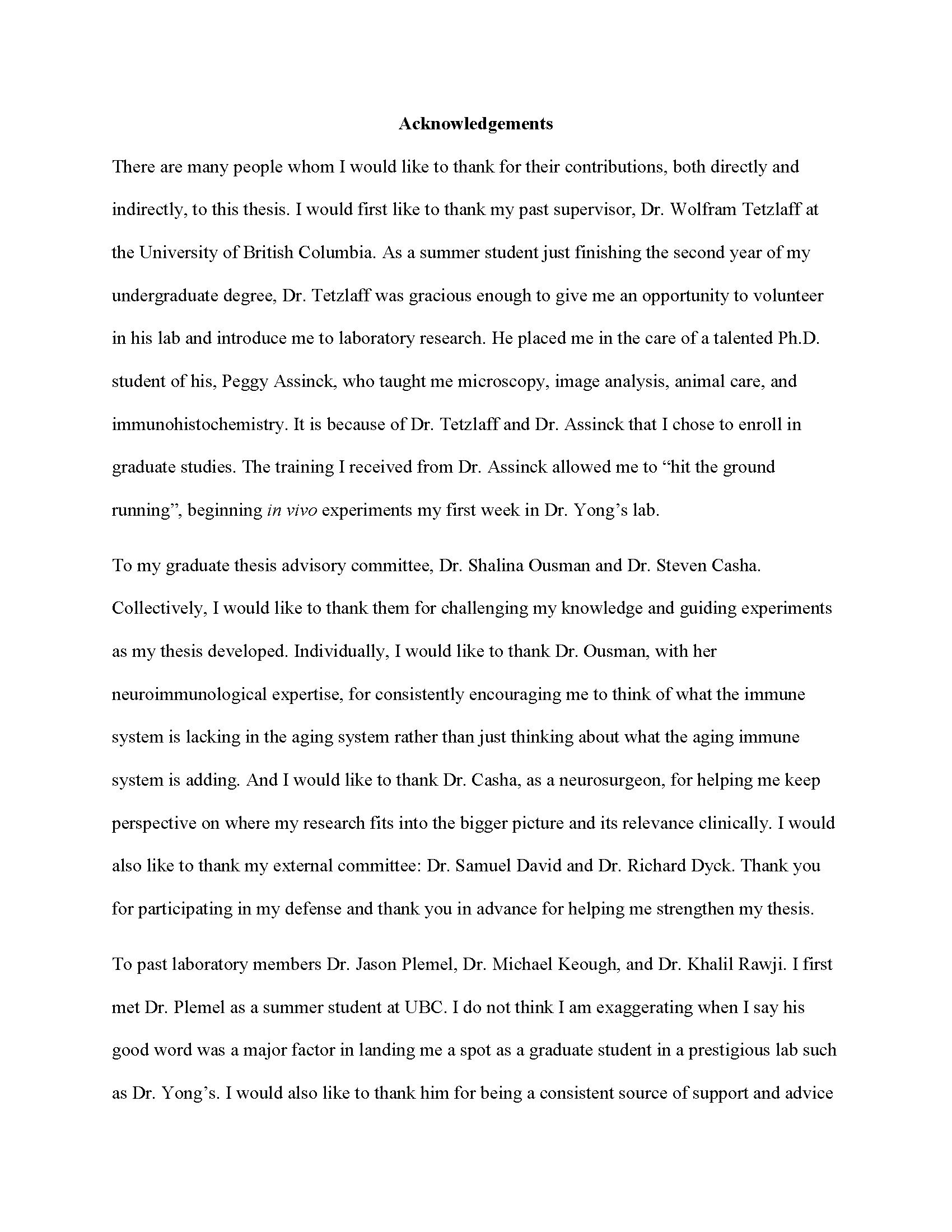 THANK YOU EVERYONE: THE ACKNOWLEDGMENTS AND DEDICATION PAGES OF MY PHD  THESIS — Nathan J. Michaels