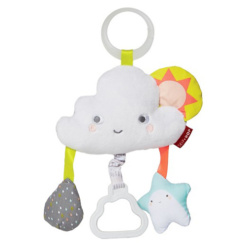 Okay this is just an example of the MANY you could get. Nixon does have this one and it's great because he can pull the little cloud that vibrates. He also has an INFANTINO turtle with a mirror and an elephant with crinkly ears. All that matters is that it can hook onto the stroller or carseat!  Find this Skip Hop toy  HERE .