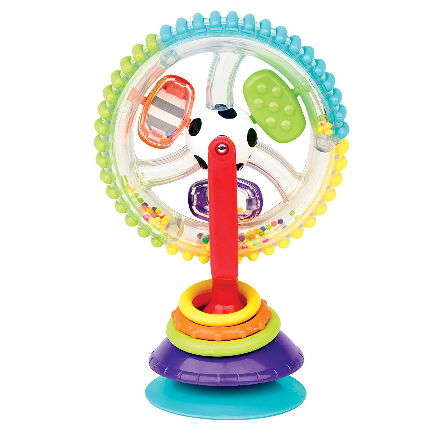 Both of these are suction toys and STAY suctioned. We like putting ours on his highchair while I'm making his food or cleaning up etc. This particular one has over 2,000 reviews on Amazon!  Find it  HERE .