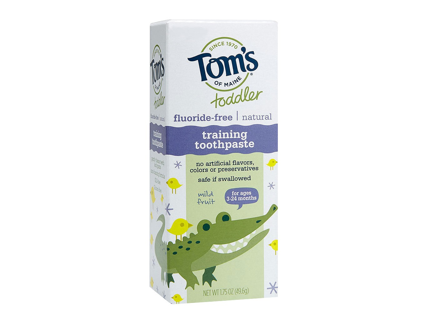Tom's Training Toothpaste - Natural ingredients + safe if swallowed. Get it HERE.