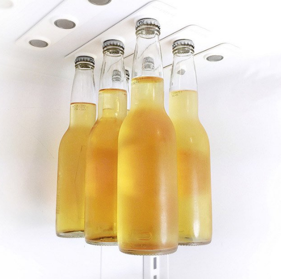 For the beer lover: magnetic strips to save room in the fridge!!