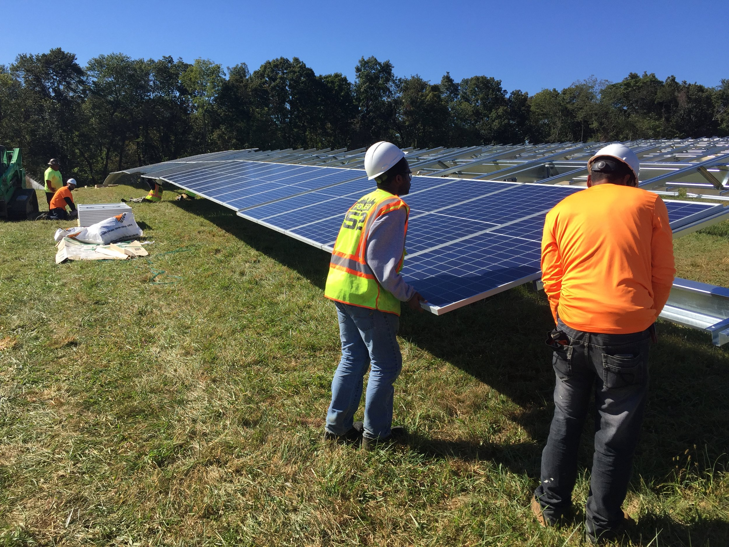 Power52 Energy Solutions Solar Technicians installing Phase 3 of a 10MW project