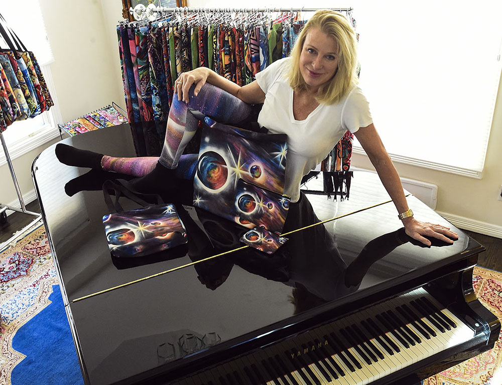 """Parallel Universe"" leggings, matching totes and pouches with the ""Parallel Universe"" artwork design."