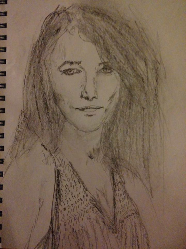 Based on a photo of Charlotte Rampling...  More like her ragged older sister, but I still like her.