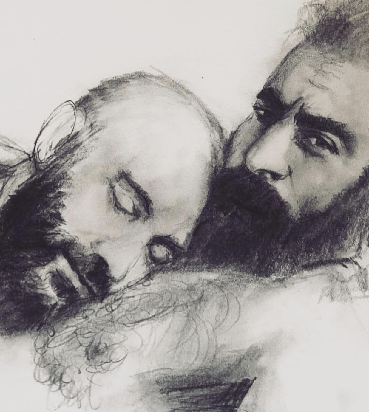 Spanish Guys in Love.  This is what I was looking for...  Original Drawing available at Adam's Nest in Provincetown.  https://adamsnest.com/collections/saul-lyons