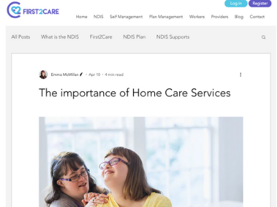 FIRST2CARE  In my capacity as a health copywriter, I write extensively researched articles for First2Care. These articles, for participants, carers and providers, look at issues surrounding disability services and the NDIS. I also write monthly EDMs about important NDIS news and updates.