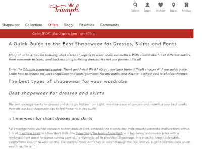 TRIUMPH AUSTRALIA  I was approached by Triumph to help launch their new blog. I currently write regular pieces on a range of topics from women's health, to fashion advice and how to Kon-Mari your lingerie drawer. I was a casual lingerie sales assistant in my uni days, so this client has been a perfect fit!