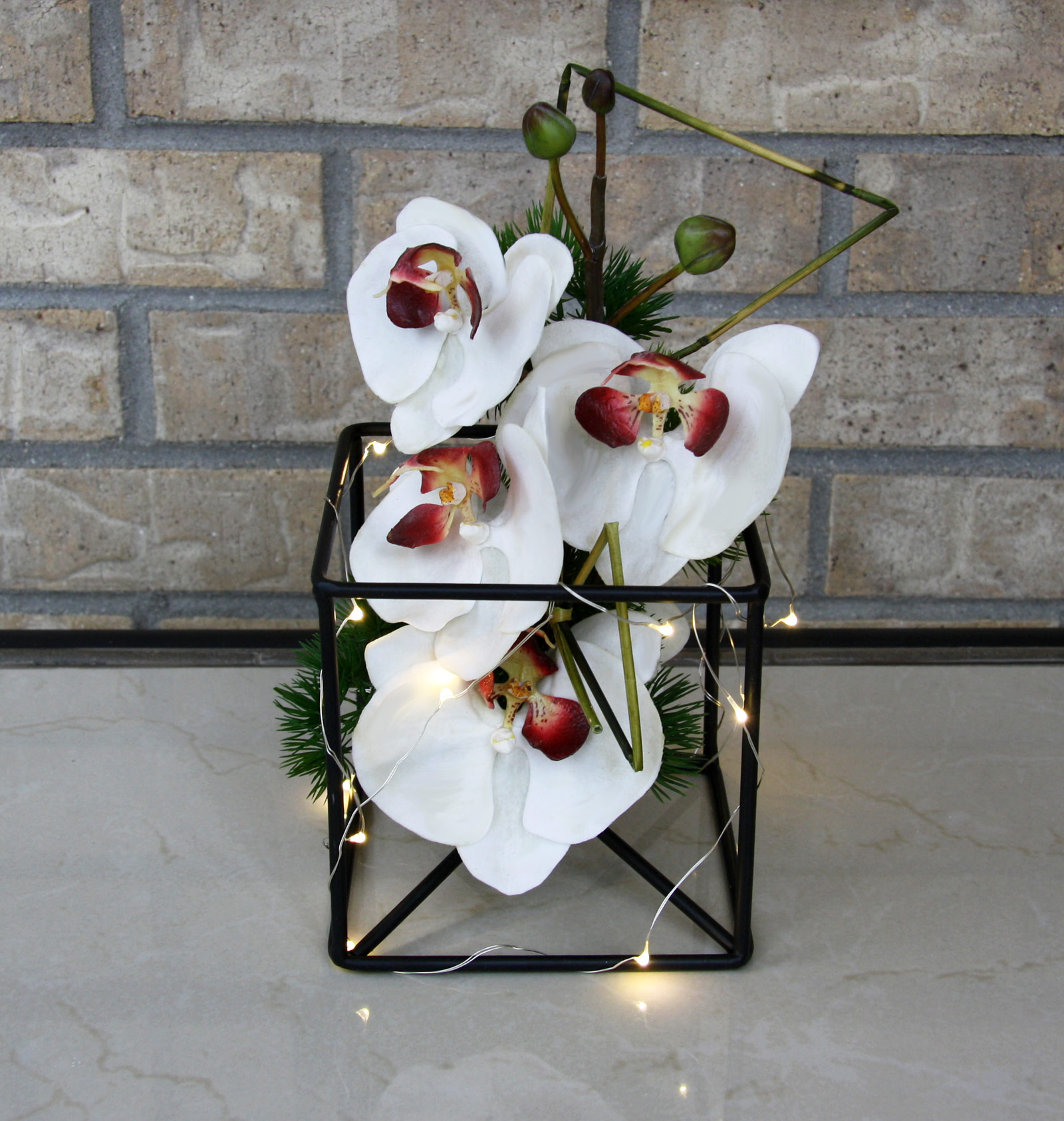 event table centerpiece / accent decor - silk flowers, wire frame, fairy lights