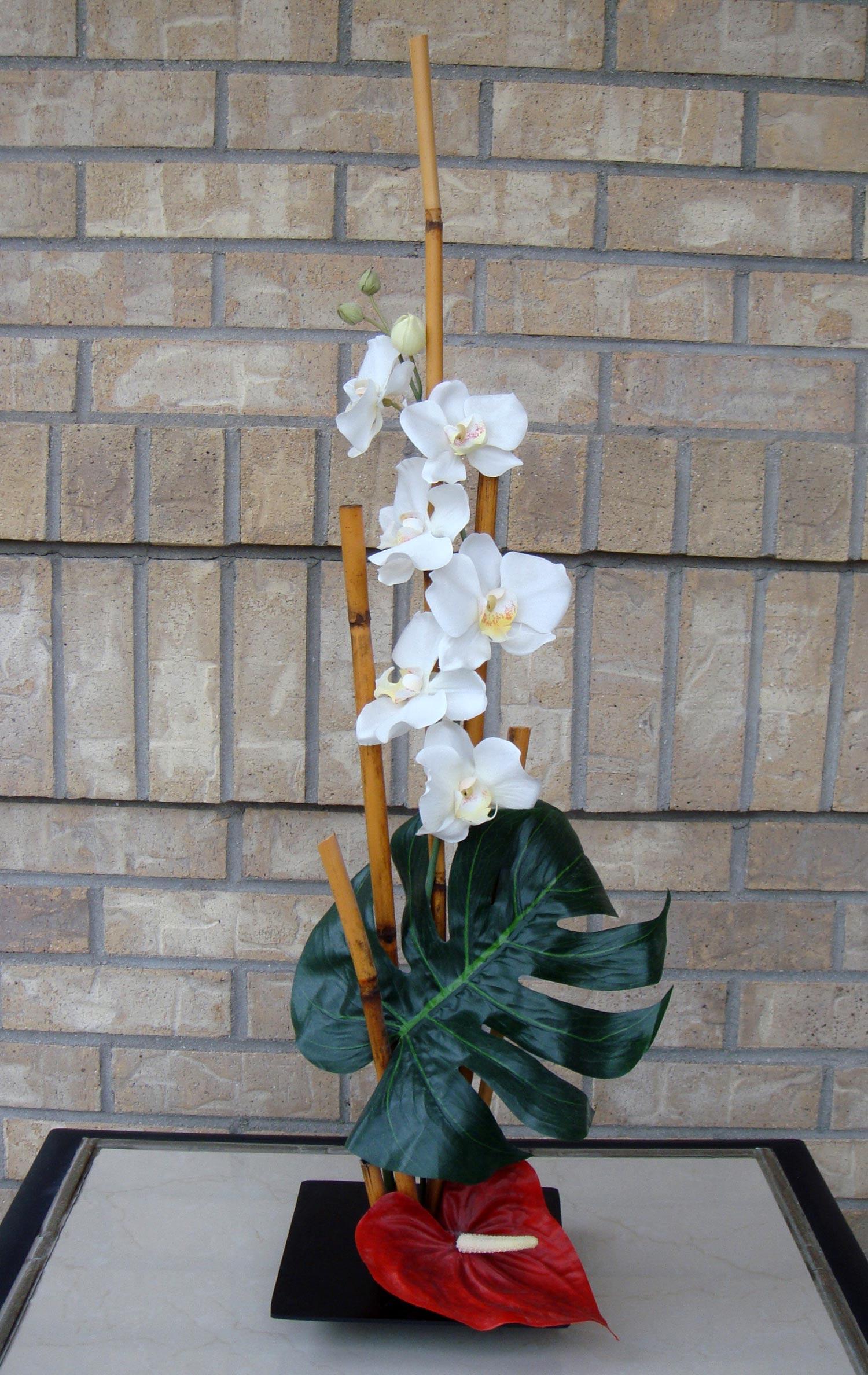 event decor, ikebana arrangement - silk and dried flowers