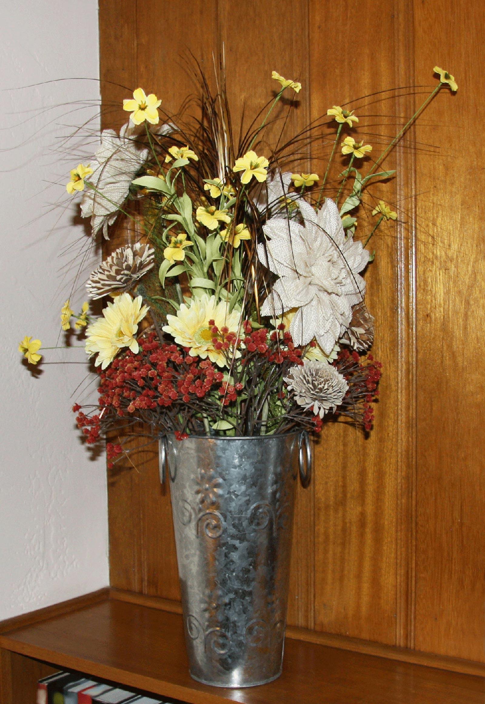 event decor - silk, burlap, wood and felt flowers