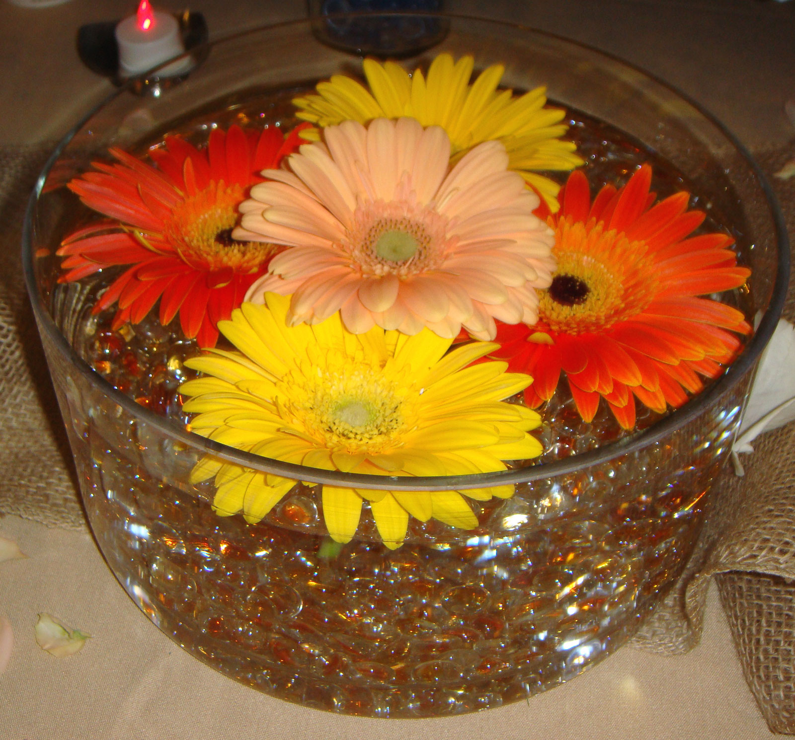 event table centerpiece - fresh flowers, glass beads,submersible lights