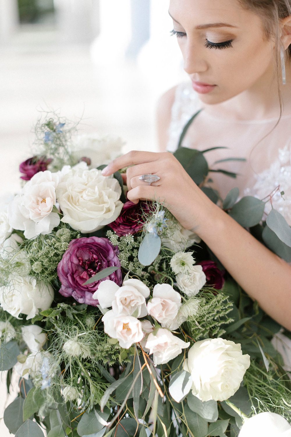 Bride with large over-sized cascade bouquet & handcrafted ring - fresh flowers
