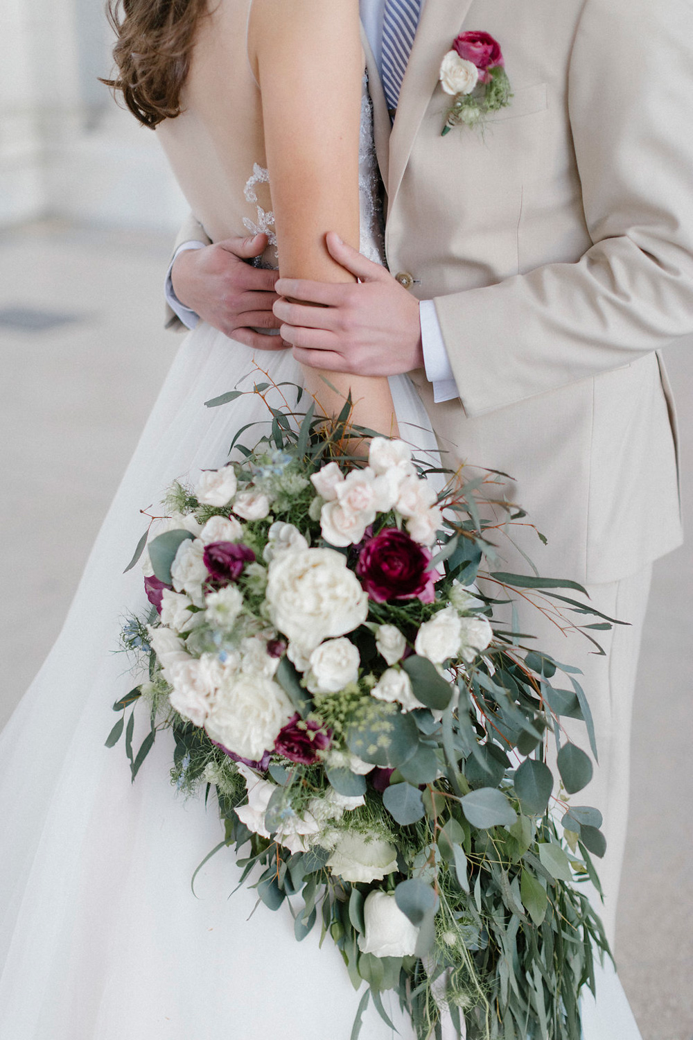 Bride & Groom, boutineer & large over-sized cascade bouquet - fresh flowers