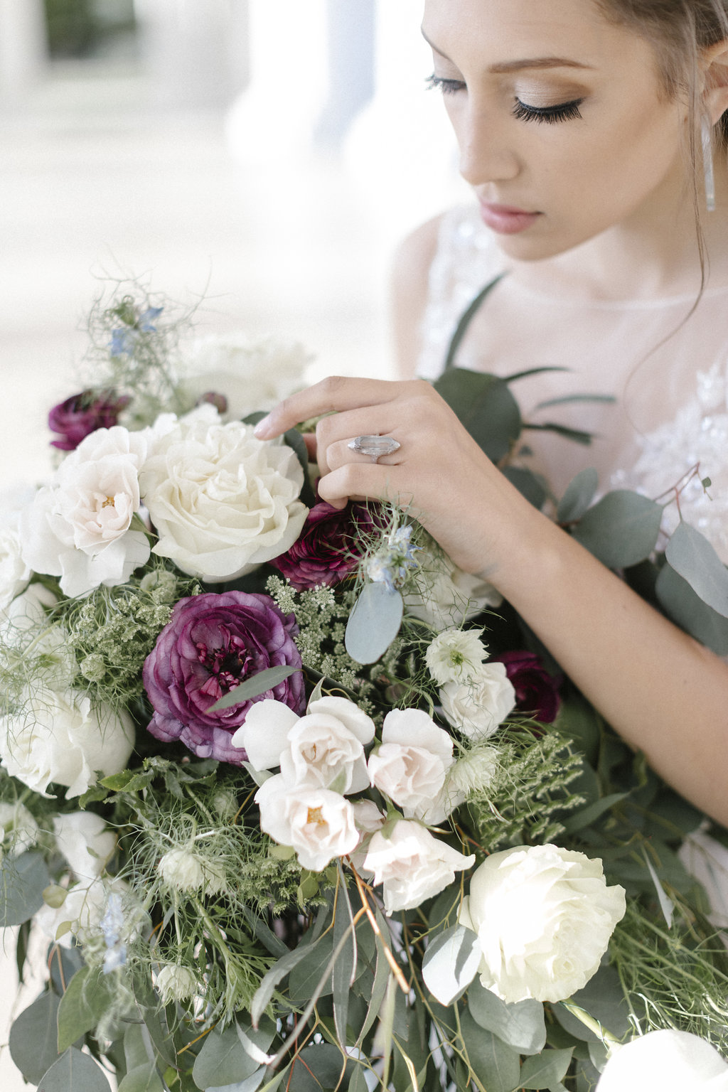 Bride with over-sized cascade bouquet & handcrafted ring - fresh flowers