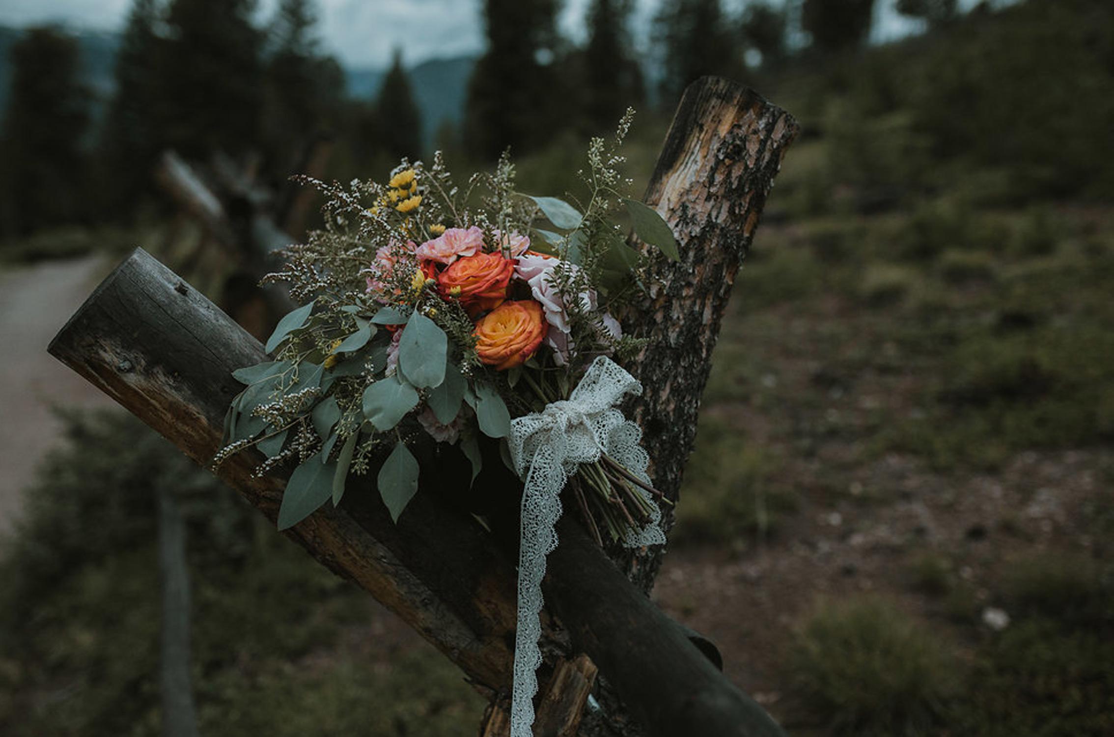 Boho Bride hand-tied bouquet - fresh flowers