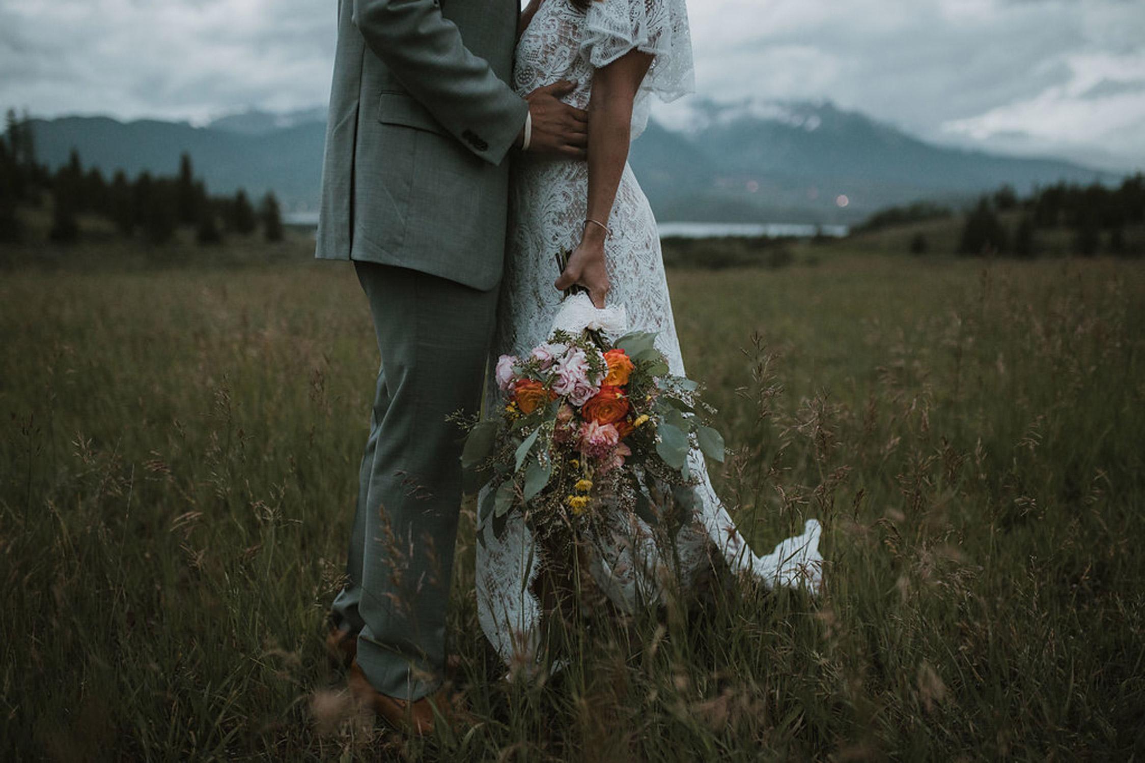 Boho Bride & Groom, hand-tied bouquet - fresh flowers