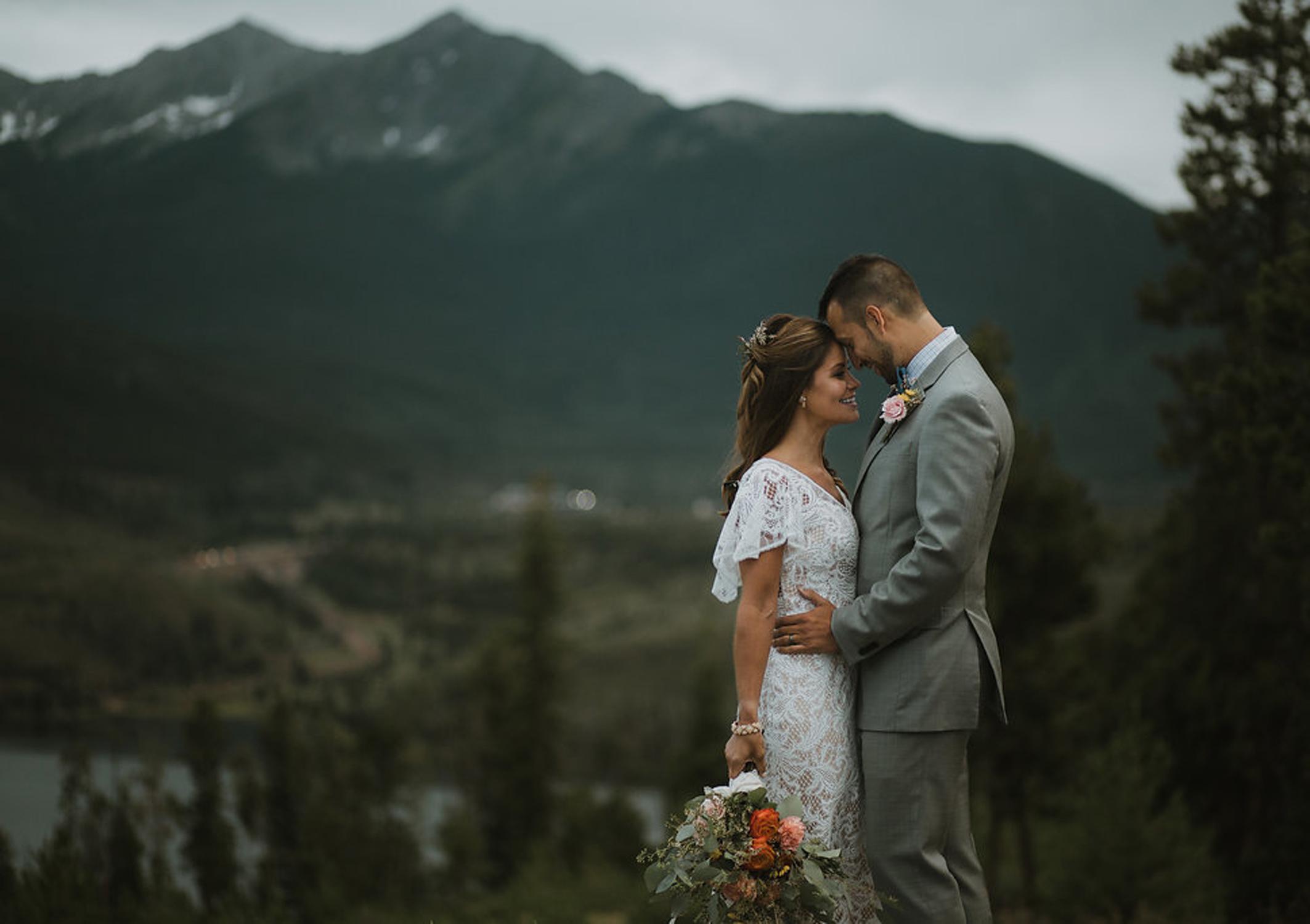 Boho Bride & Groom, boutineer & hand-tied bouquet - fresh flowers