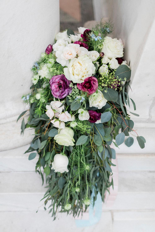 Bride's over-sized cascade bouquet - fresh flowers