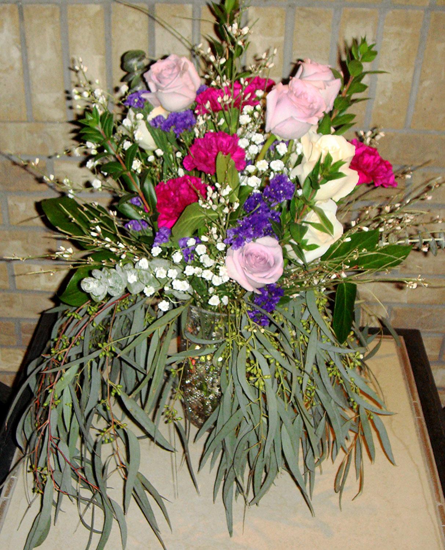 colorful antique vase arrangement for accent decor or table centerpieces - fresh flowers