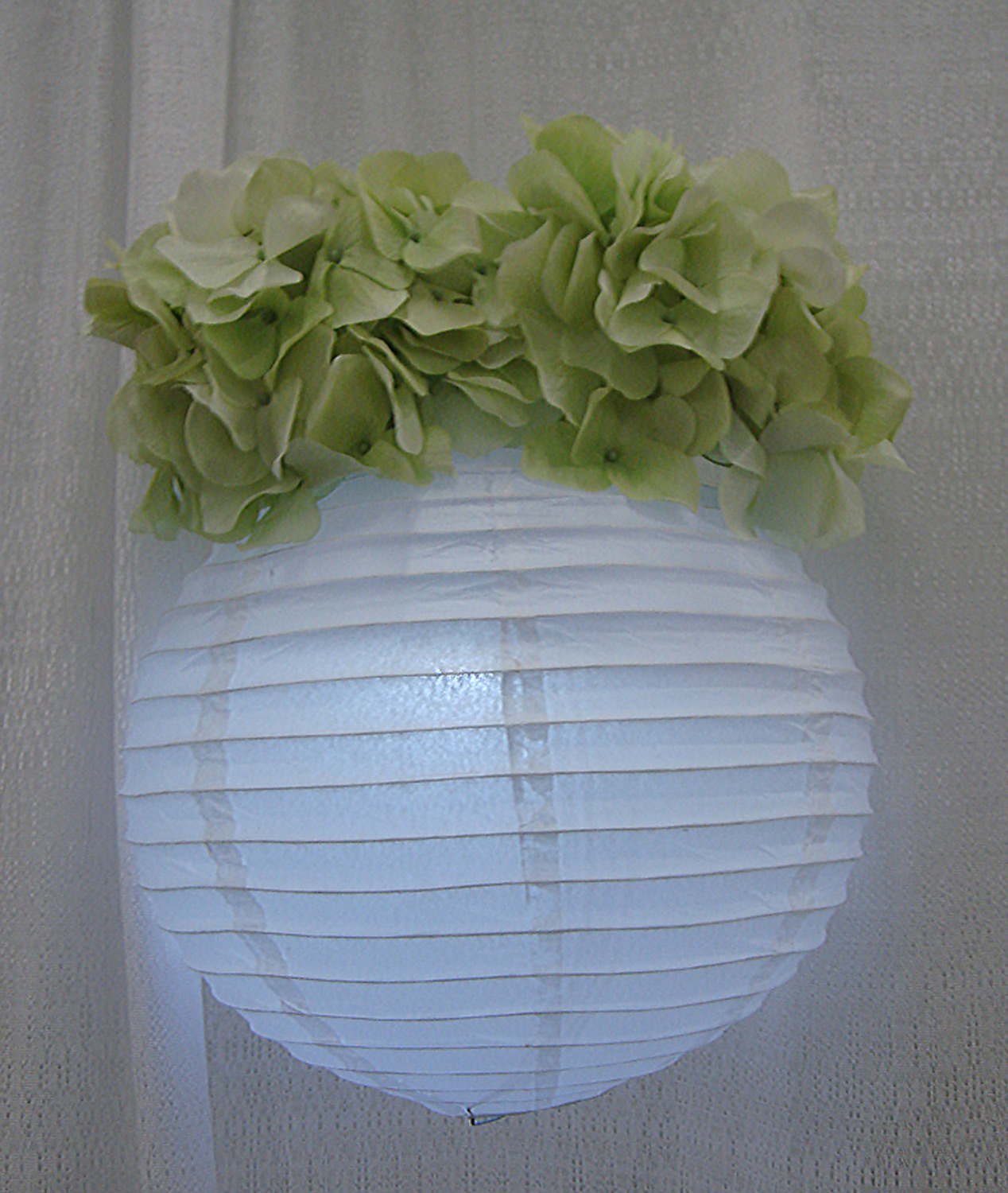 reception / event accent hanging decor - chinese lantern with down light and silk flowers