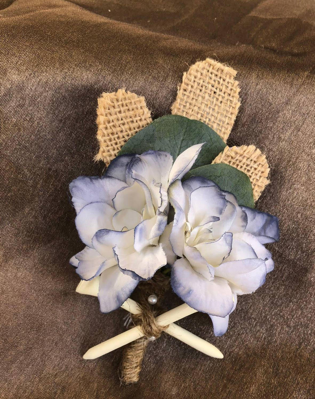 groom boutineer - hand-dyed silk flowers, burlap leaves with golf tees and jute wrap
