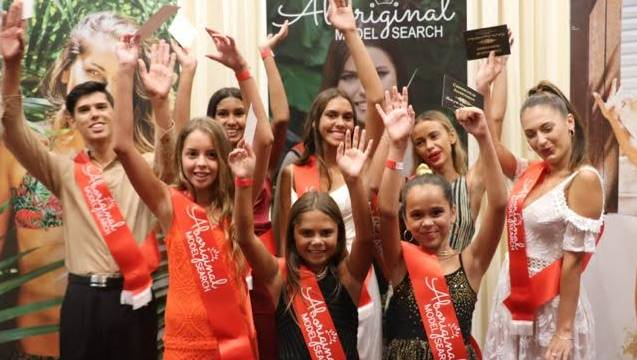 Kayla Cavell of Year 11 (pictured middle) at the 2017 Aboriginal Model Search