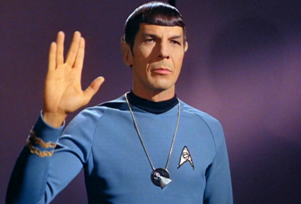 Spock, wearing his IDIC.