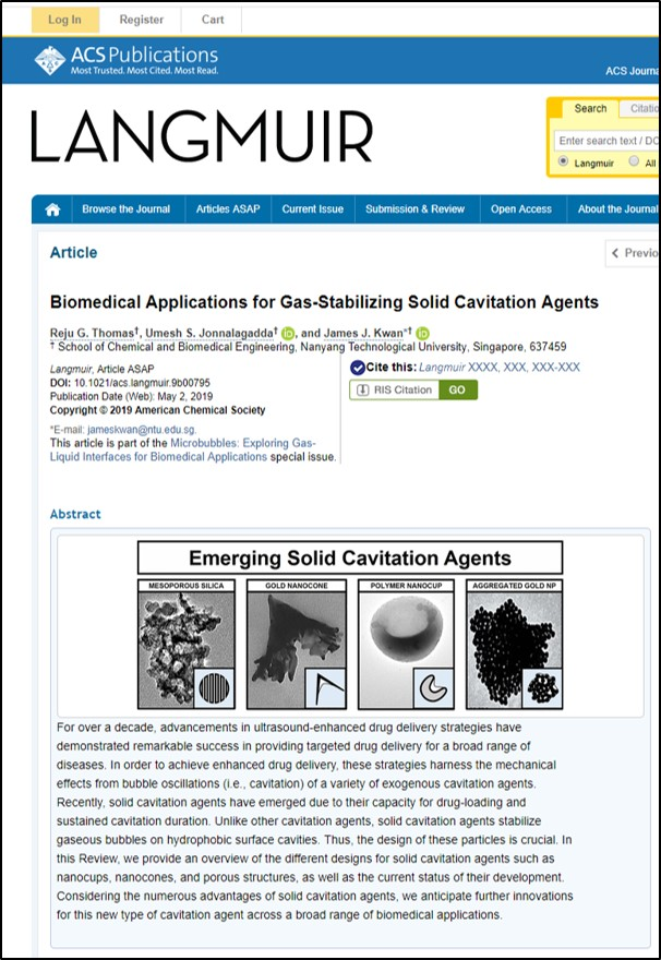 May 13 2019 - Congrats to Dr Reju George Thomas and Dr Umesh Jonnalagadda for publishing a review in Langmuir discussing solid cavitation agents as an emerging technology!Link: https://pubs.acs.org/doi/10.1021/acs.langmuir.9b00795