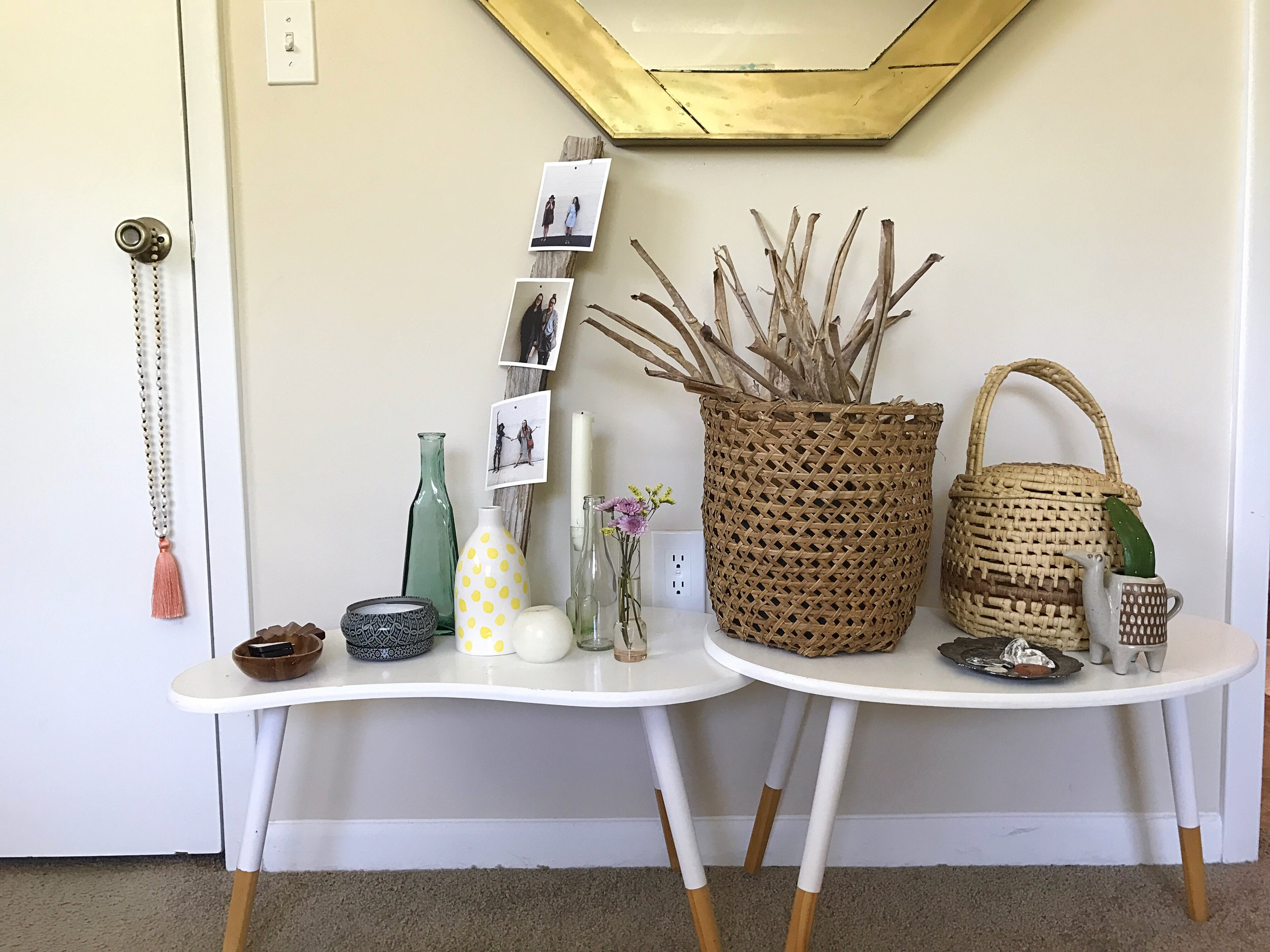 The baskets were thrifted. All of the vases (including the camel) were thrifted. That mirror was a totally unexpected thrifting find. I scored him for $15.