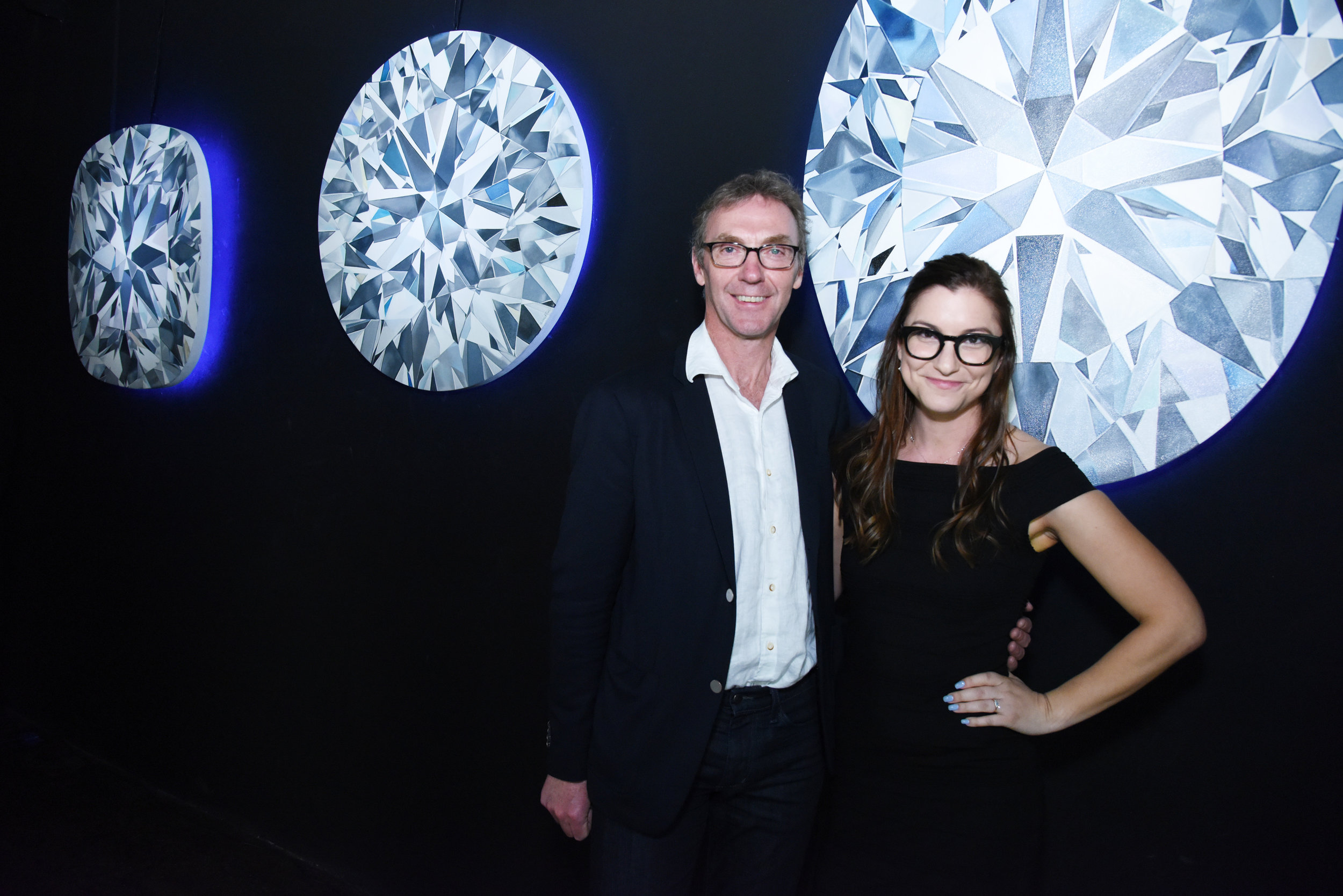Charles Stanley, Forevermark President, and artist Angie Crabtree at Forevermark Black Label Collection Launch in NYC.jpg