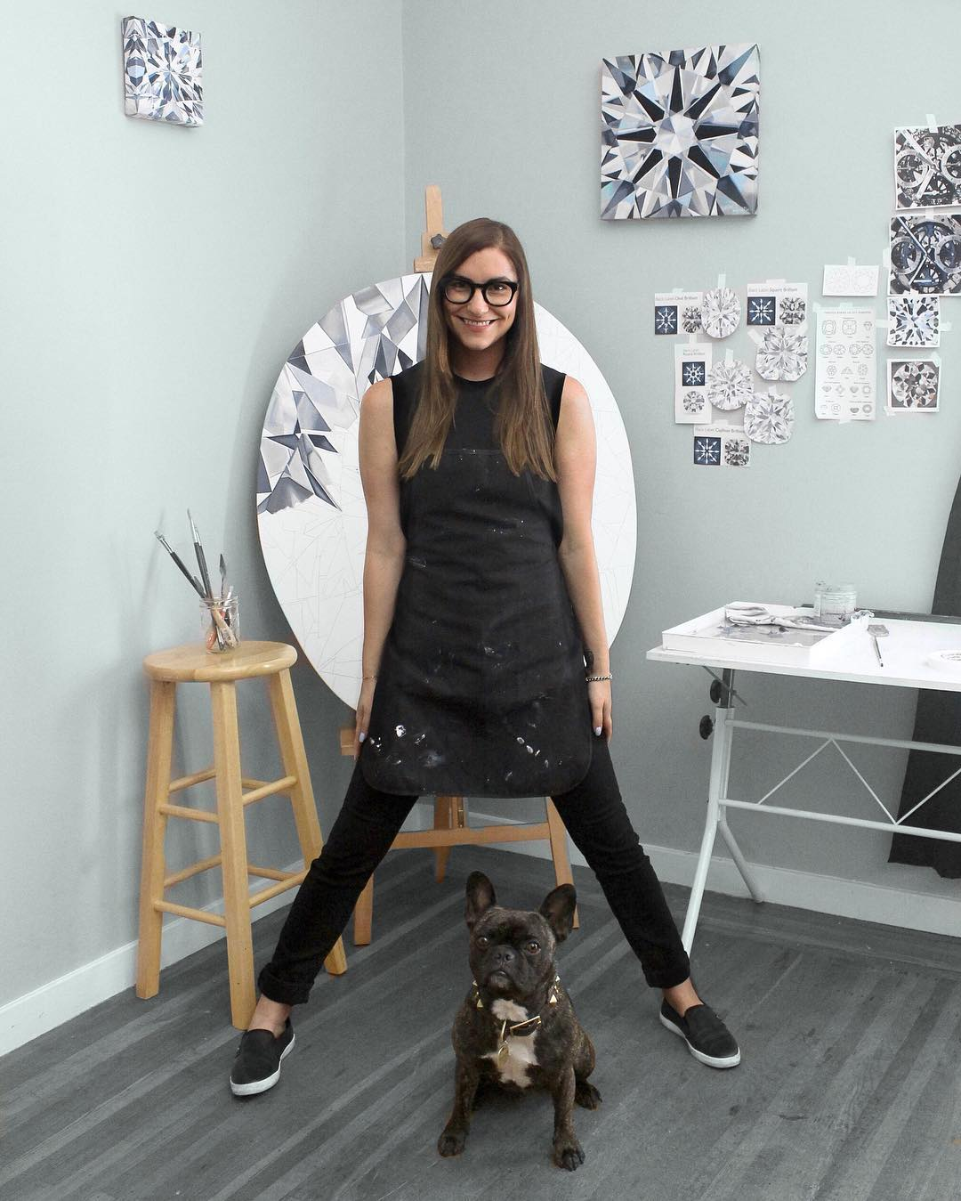 Surprise!!! A project commissioned by @forevermarkdiamonds is officially underway! And this time the canvases are custom shapes by request. Follow @forevermarkdiamonds to see more behind-the-scenes photos! #diamondpainter #diamondlife #frenchbulldog .jpg