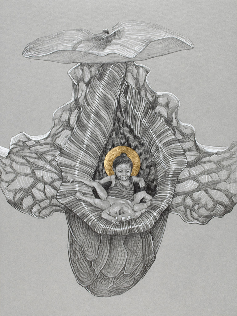 lakshmi - graphite and gold leaf on pastel paper