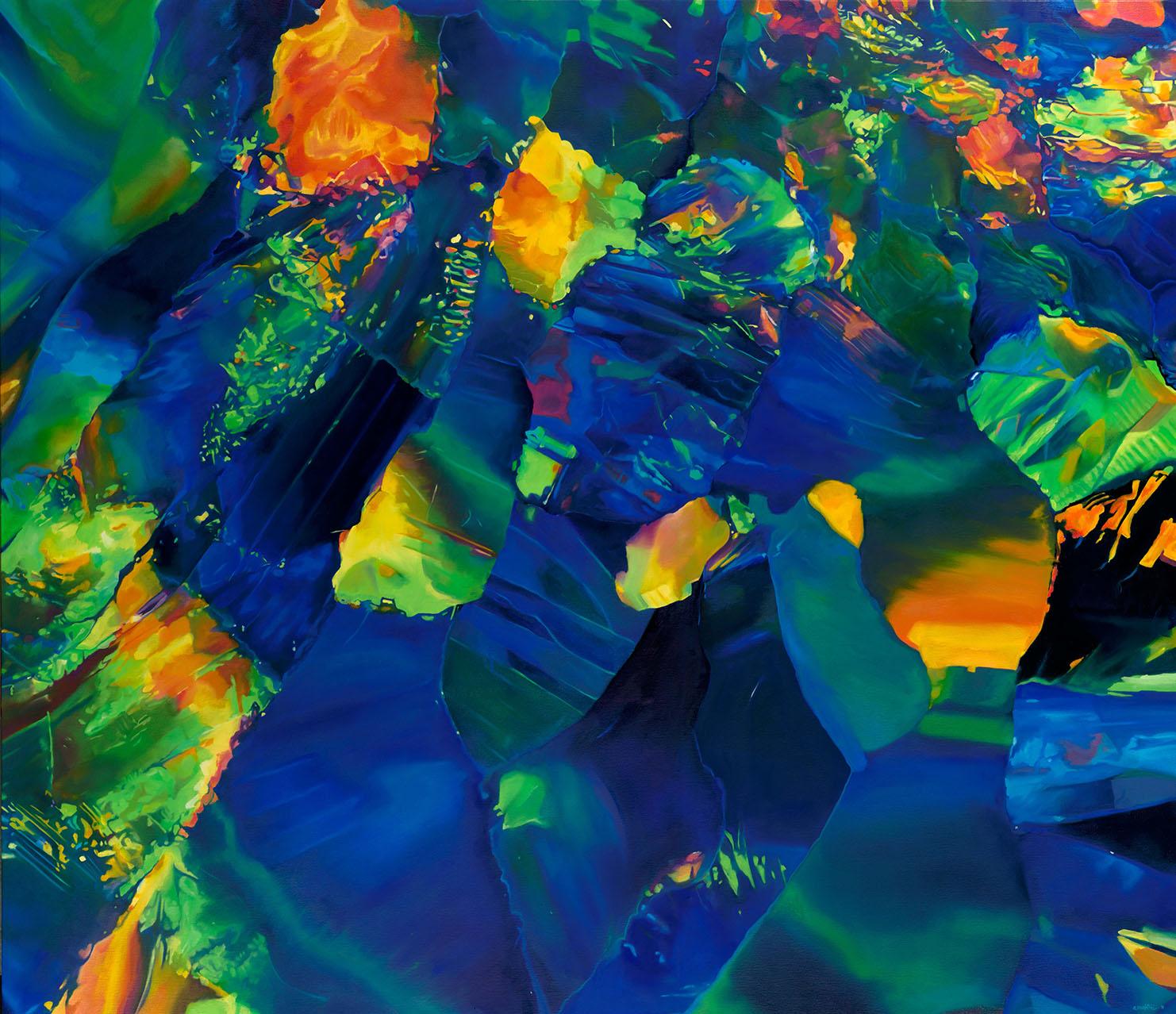 "- INDIGOblack opaloil on canvas48"" x 36""2019"
