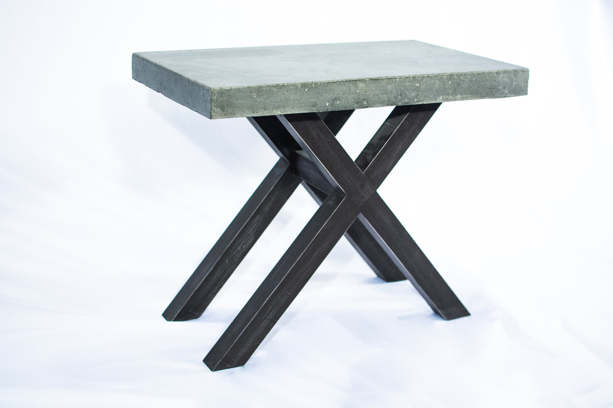 concrete end table with wooden legs