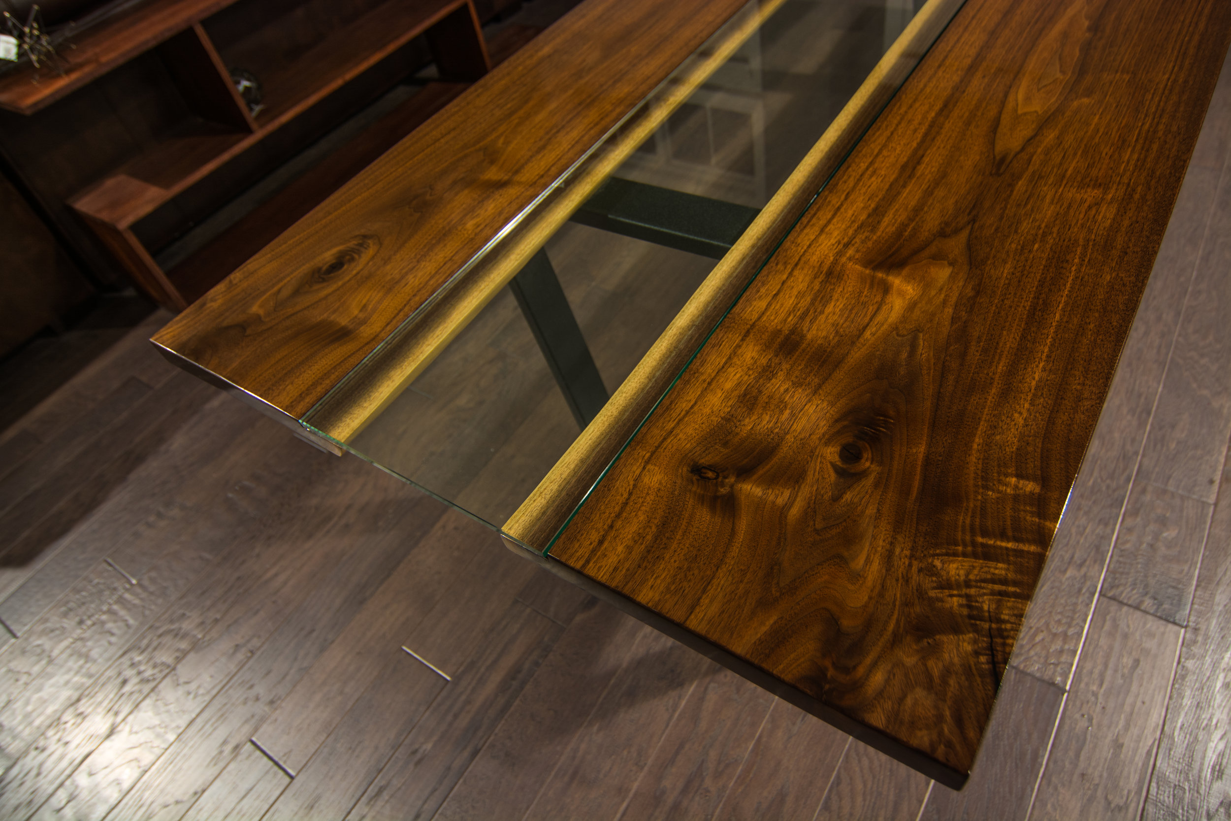Book matched walnut slab dining table
