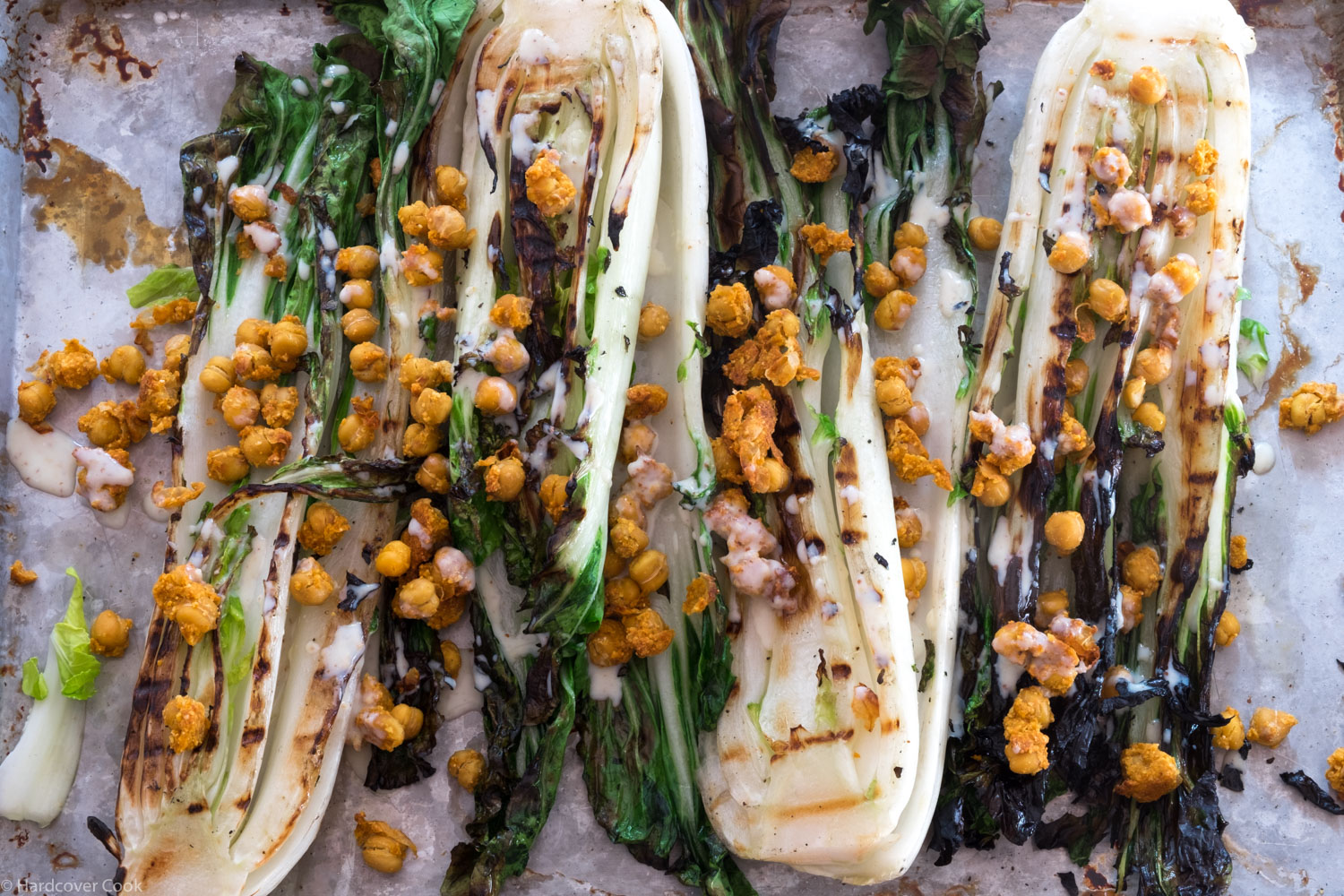 Grilled Bok Choy and Sriracha Chickpeas with Buttermilk Dressing