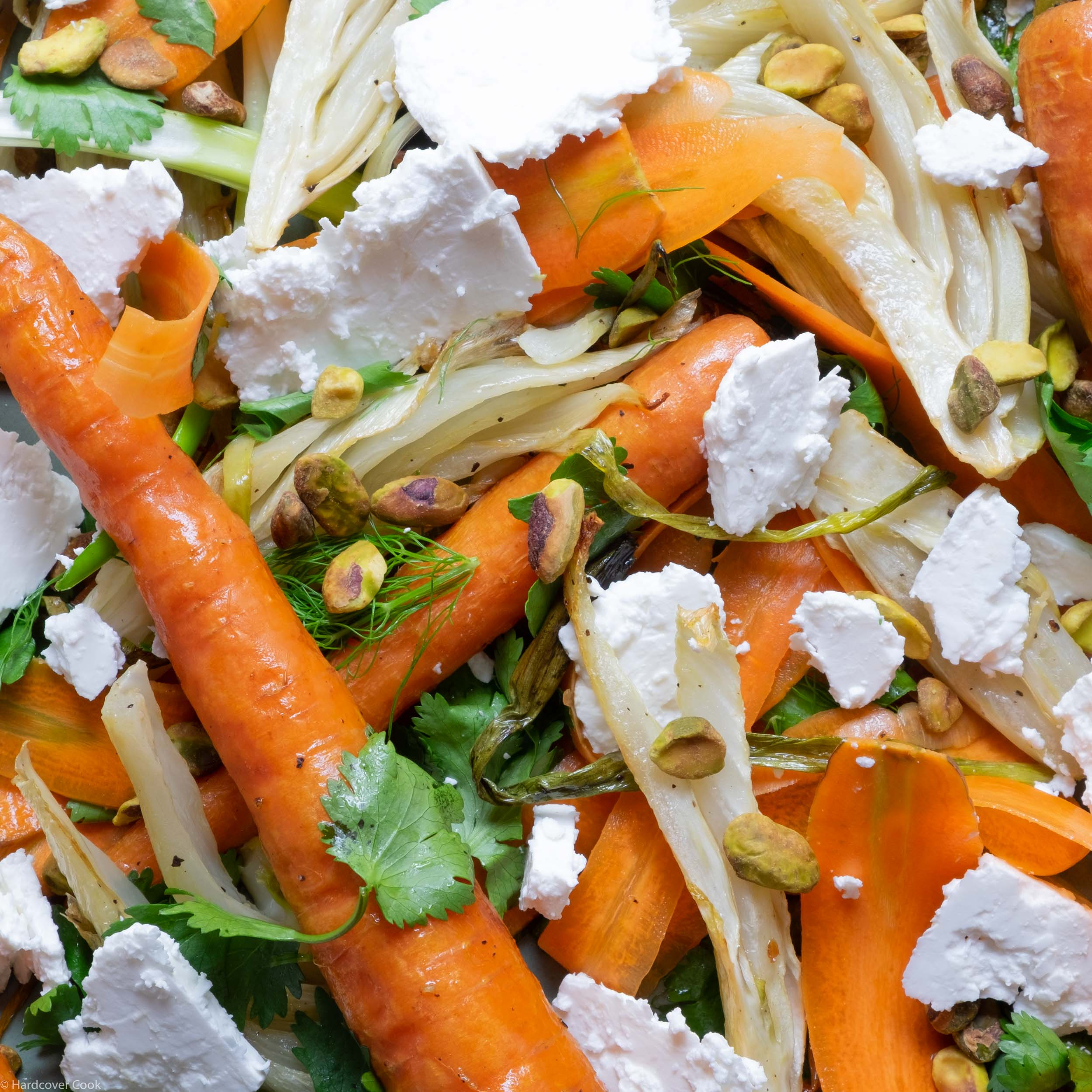 Raw and Roasted Carrots and Fennel with Feta and Pistachios