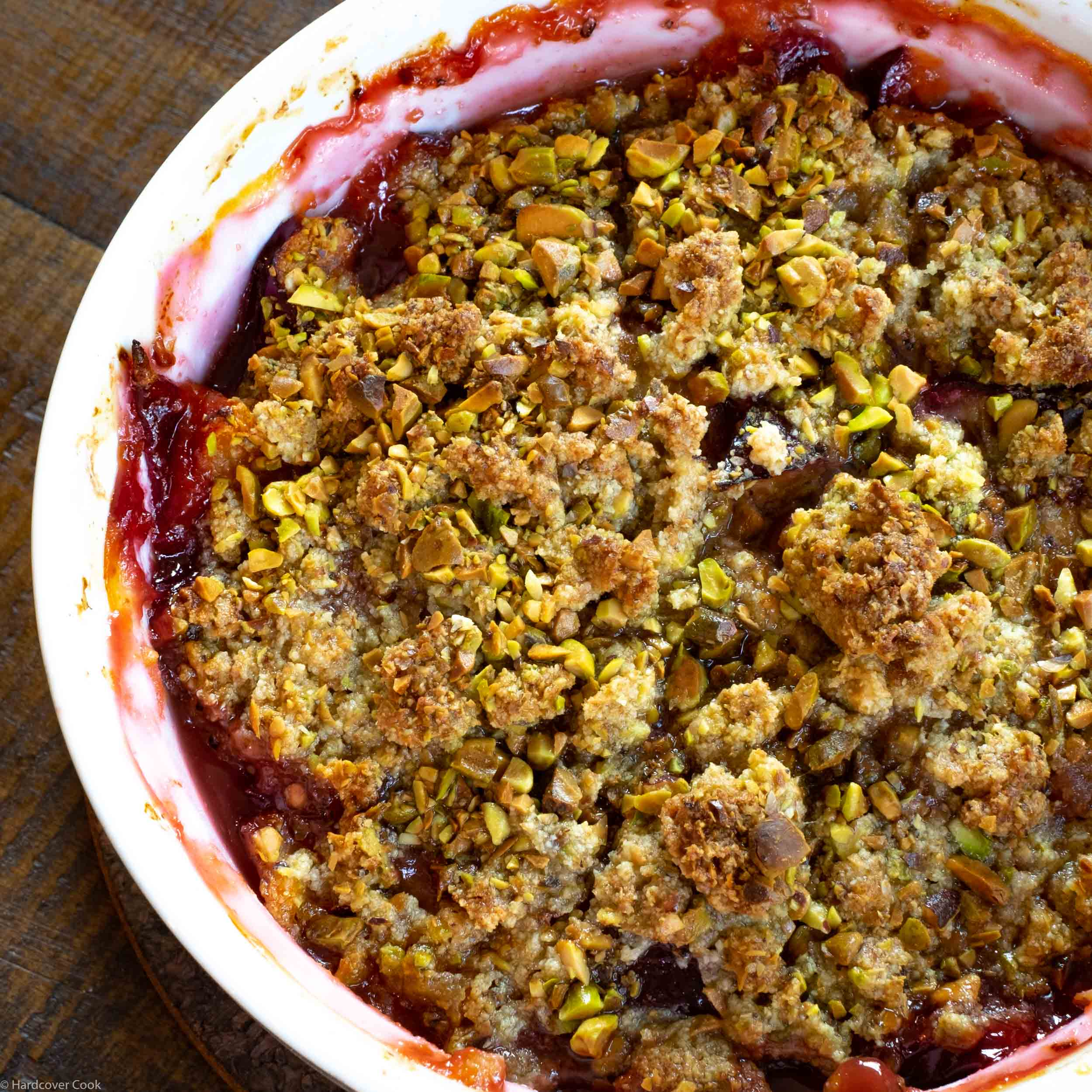 Pistachio-Plum Crisp from Dining In