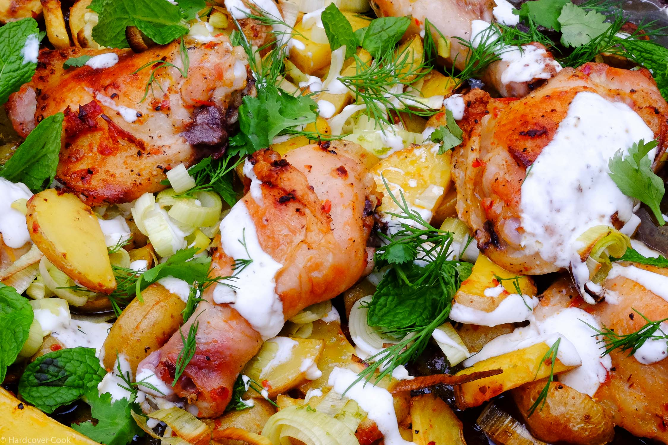 Harissa Chicken with Leeks, Potatoes, and Yogurt from Dinner Changing the Game