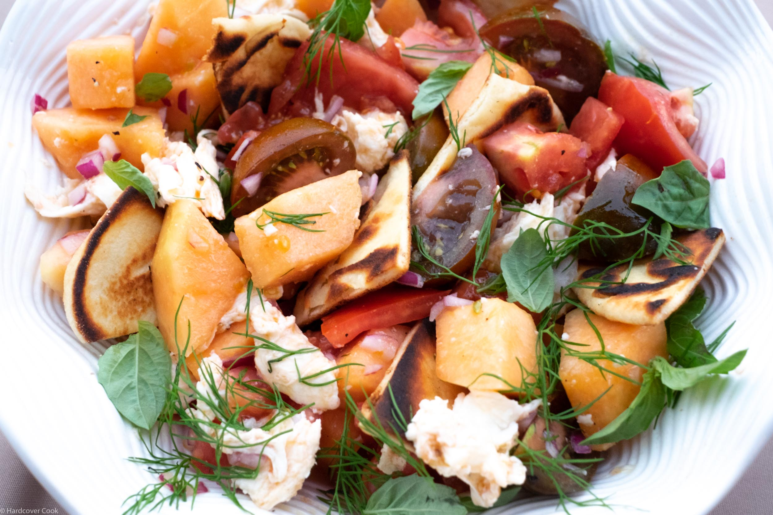 Spicy Melon & Heirloom Tomato Salad with Mozzarella from Just Cook It!