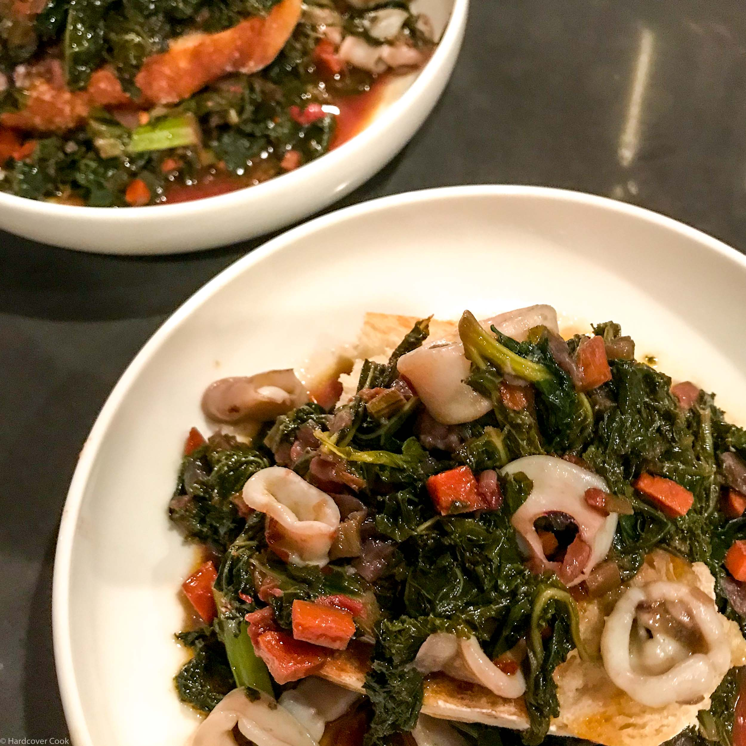 Squid with Tomatoes, Bitter Greens, and Red Wine (Calamari In'Zimino) from Autentico
