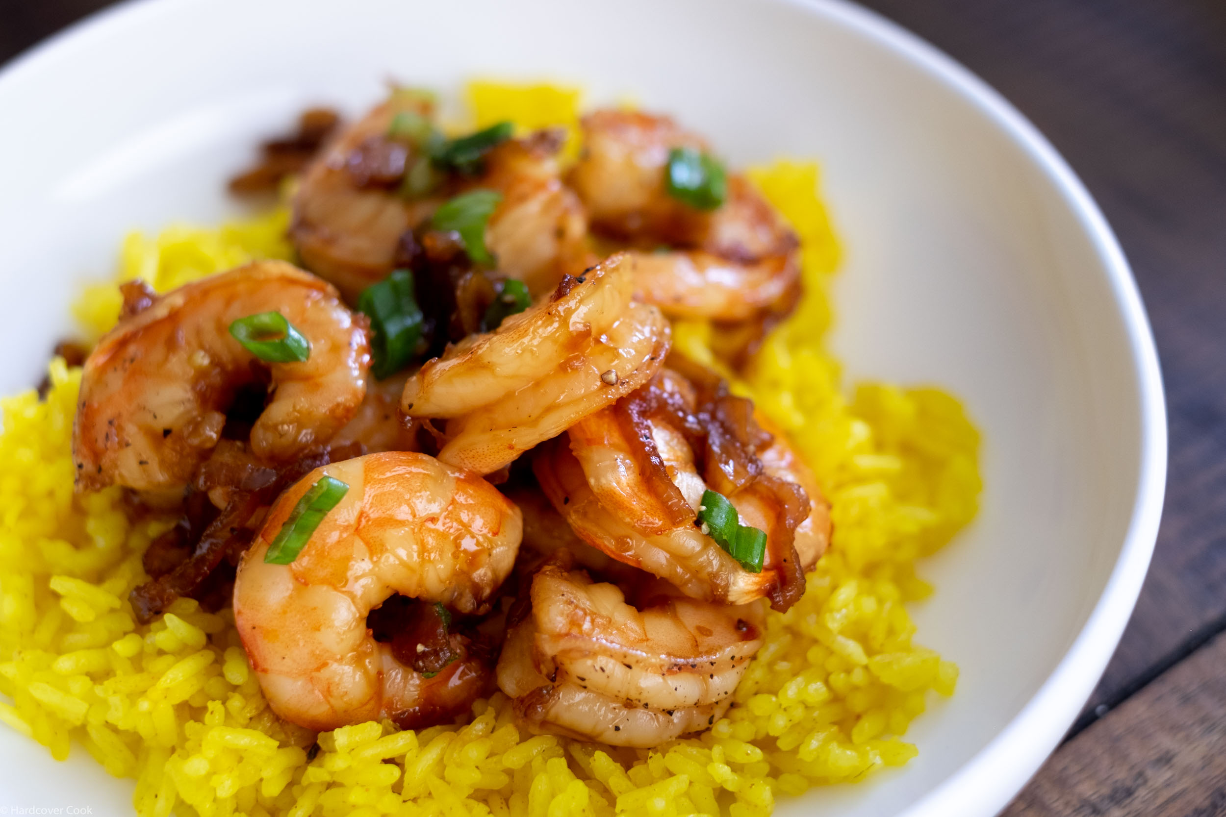 Coconut Caramel Shrimp served over the Vibrant Turmeric Rice.