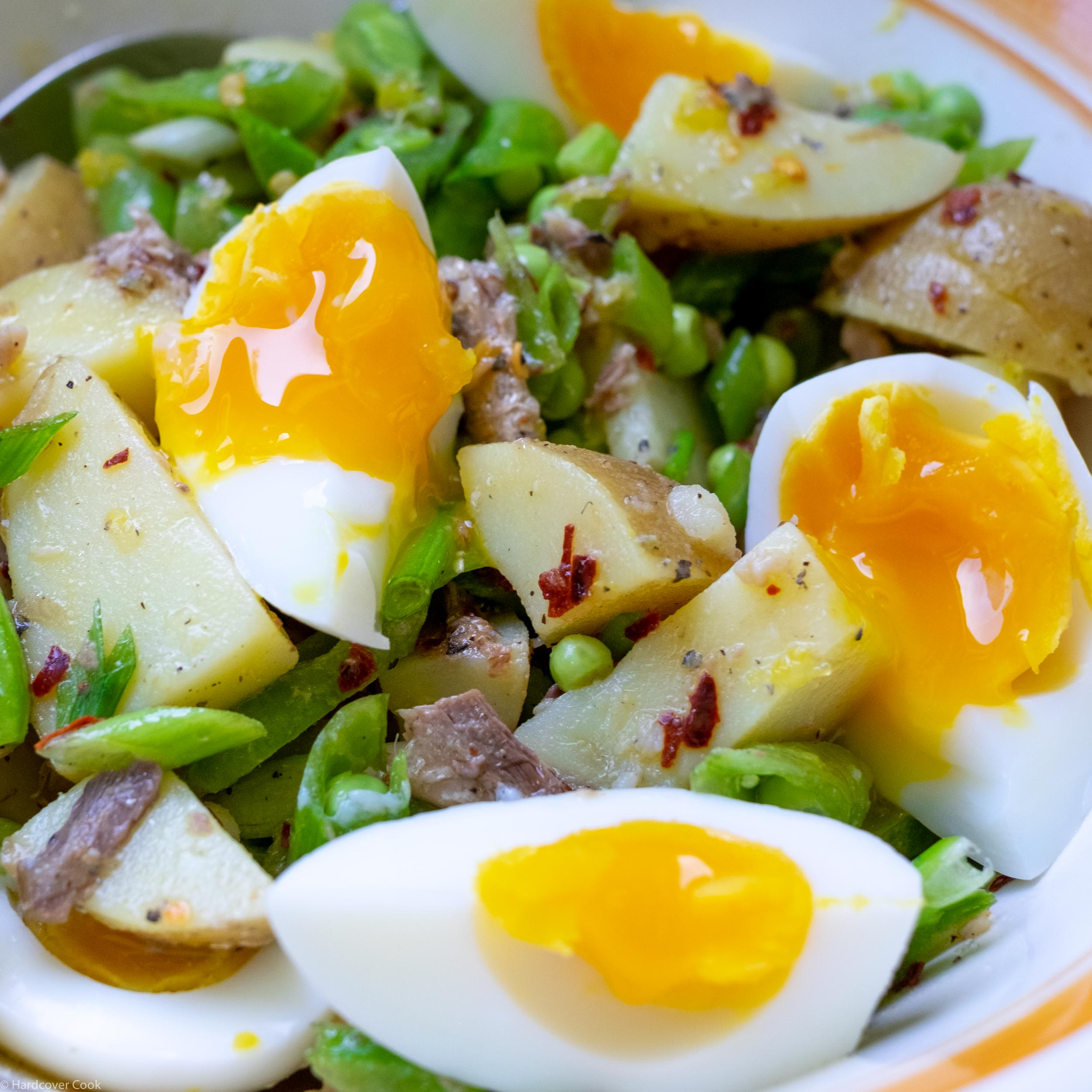 Sugar Snap Pea and New Potato Salad with Crumbled Eggs and Sardines from Six Seasons